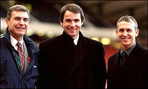 Gary Lineker with BBC Match of the day colleagues Trevor Brooking and Alan Hansen