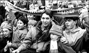 Gary Lineker on the terraces Filbert Street during his days as a Barcelona player