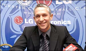 Gary Lineker faces the media at Leicester City's Walkers Stadium on Wednesday
