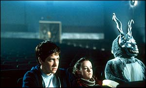 Jake Gyllenhaal (Donnie Darko), Jena Malone (Gretchen Ross) and James Duval (Frank the Rabbit)