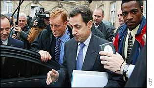 Nicolas Sarkozy leaves the Elysee Palace