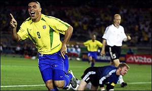 Ronaldo turns away after scoring against Germany in the final