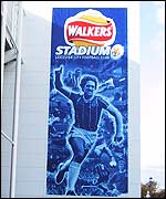 A four-storey banner of Gray Lineker on the Leicester ground