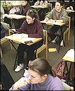 Sixth-formers sitting A-level exams