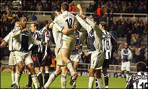 Newcastle celebrate their winner against Juventus