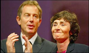 Prime Minister Tony Blair and Estelle Morris