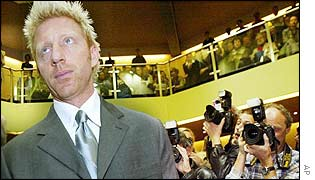 Boris Becker in the Munich court room
