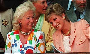 Frances Shand Kydd with Diana, Princess of Wales, at Wimbledon