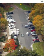 An aerial view of the highway rest stop