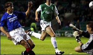 Claudio Caniggia slots home Rangers second goal