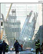 The wreckage of the World Trade Center