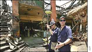 Australian investigators collect data at the site of the Kuta bombing
