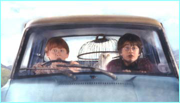 Close to the start of the movie, Ron & Harry borrow a flying car to get to Hogwarts