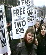 There were protests after Ricky and a colleague were jailed