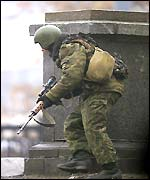 Army sniper near the theatre