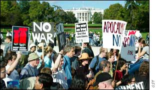 Protestors march in front of the White House