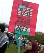 Muslim student Sana Malik demonstrates against war in Iraq