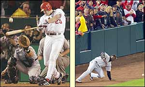 Troy Glaus' two-run double brings home the winning runs to cap a memorable fight back form the Angels and force a deciding game seven against the Giants with a 6-5 win