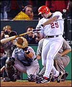 Anaheim Angels Troy Glaus hits a two-run double to score the go-ahead run in the eighth inning