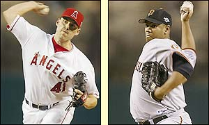 Anaheim's rookie pitcher John Lackey starts for the Angels with Livan Hernandez on the mound for the Giants