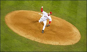 Brendan Donnelly of the Anaheim Angels pitches in the seventh inning against the San Francisco Giants