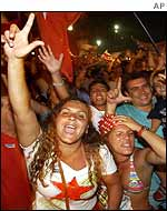 Supporters of Lula at a celebration of his victory