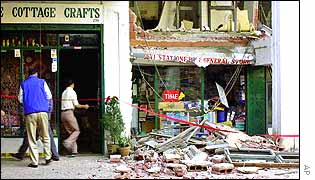Bombed bookstores in Kathmandu