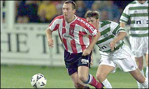 Celtic played Derry City in a freindly game at the Brandywell in October 2000