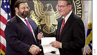 SEC chairman Harvey Pitt (left) and William Webster, who has been chosen to oversee a new accounting oversight board.