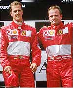 Michael Schumacher (left) and Rubens Barrichello on the podium in Austria