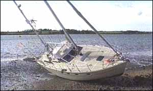 Yachts upended at Levington Harbor in Suffolk
