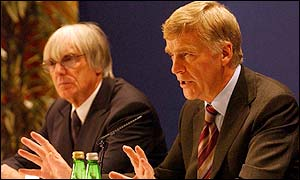 F1 supremo Bernie Ecclestone (left) and FIA president Max Mosley unveil the new proposals