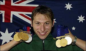 Ian Thoirpe with his medals - six gold and one silver