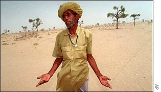 Indian farmer in drought-stricken Rajasthan