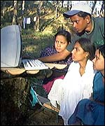 People using a computer in the field
