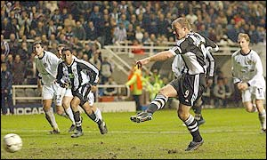 Alan Shearer scores Newcastle's winner from the spot