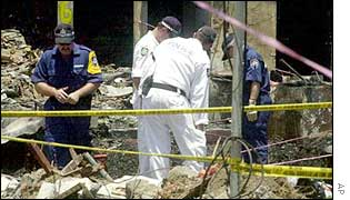Australian police at the scene of the Bali bombing