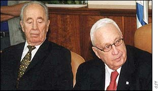 Shimon Peres and Ariel Sharon