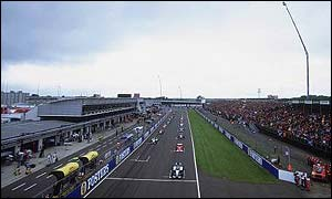 The cars line up on the grid at Silverstone for this year's British Grand Prix