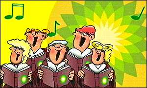 Cartoon singers with BP logo as backdrop