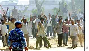 A mob during the riots