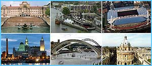 Clockwise from top left: Birmingham, Bristol, Cardiff, Oxford, Newcastle/Gateshead and Liverpool