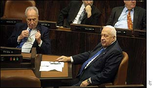 Peres and Sharon in the Knesset