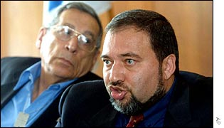 Rehavam Ze'evi (left) with Avigdor Lieberman