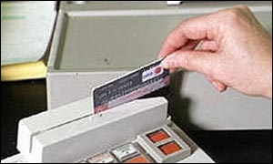 A credit card being swiped
