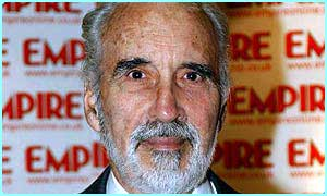 Christopher Lee plays Saruman in Lord of the Rings