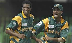 Makhaya Ntini and Robin Petersen in action for South Africa