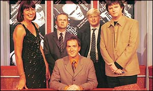 (From left) Janet Street-Porter, Ian Hislop, Angus Deayton, Boris Johnson and Paul Merton, in 2001