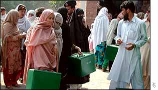 Ballot-boxes on polling day