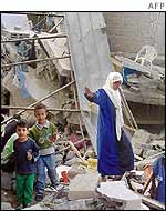 Destroyed houses in Jenin